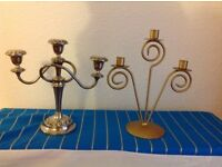One silver plated candelabra for 3candles, one copper plates candle holder for 3candles.