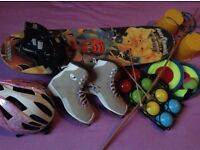 Clear out of kids' outdoor games, skateboard etc