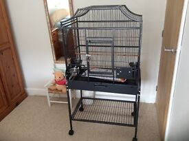 Parakeet/parrot cage with trolley