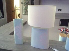 Table lamp and vase