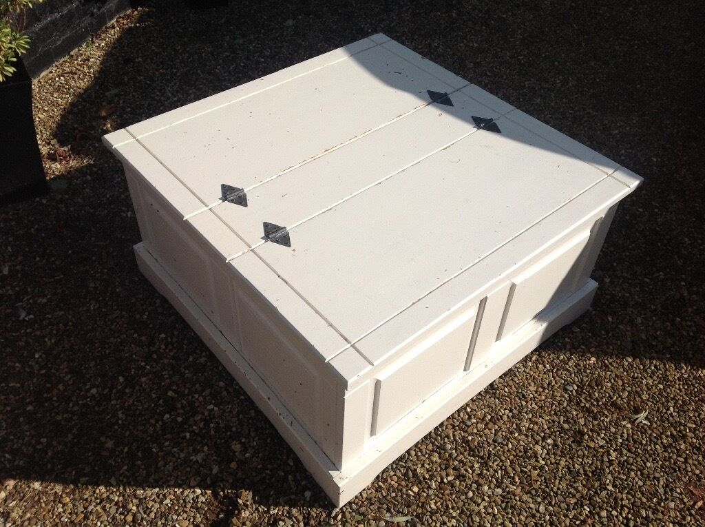 Large white coffee table chest trunk toy box shabby chic