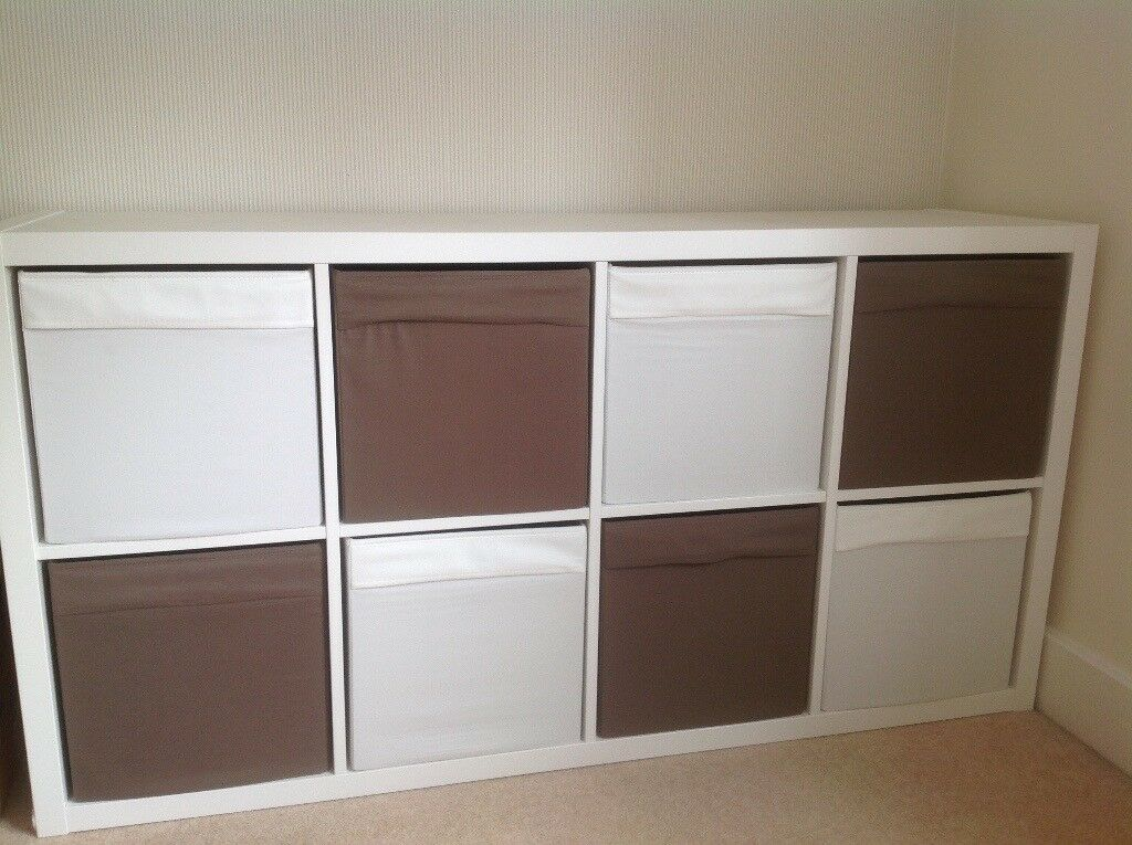 Canvas Storage Boxes For Wardrobes: IKEA Kallax 8 Holiday Shelving Unit With Canvas Storage