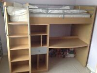 Single cabin bed with lots of storage, in excellent condition