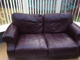 Leather burgundy sofas