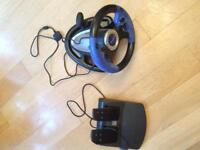 PlayStation 2 steering wheel and foot pedals