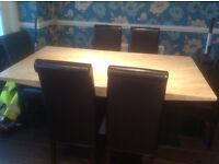 Dining Room Marble Table with 6 Brown Leather Chairs