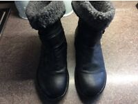 Women's leather lotus ankle boots