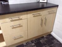 Full kitchen with work tops hob oven and extractor