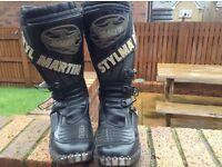 BLACK MOTORCYCLE STYLMARTIN BOOTS SIZE UK7/8