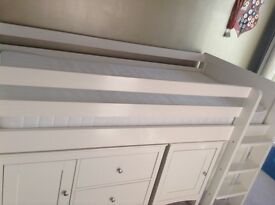 White mid sleeper single bed