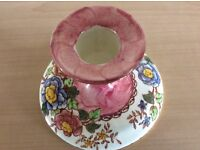Pair of pink Maling peony rose candlesticks with cream floral background1950's excellent conditio