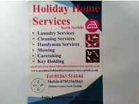 Holiday home services north Norfolk. Laundry cleaning maintained.