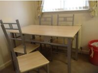 Dining table & 4 chairs - wooden top on metal base