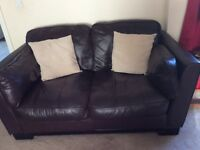 Lovely soft leather 2-3 seater sofa dark brown