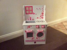 PLUM childrens wooden pink and white play kitchen