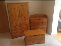 Nursery furniture set. Wardrobe, chest of drawers and toy box.