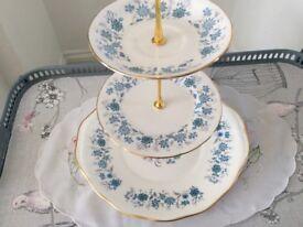 Colclough Braganza Bone China 3 Tier Cake Stand. Blue & White Floral.