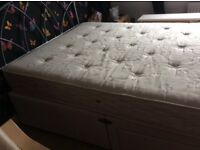 Double divan with two drawers and mattress, also silver headboard.