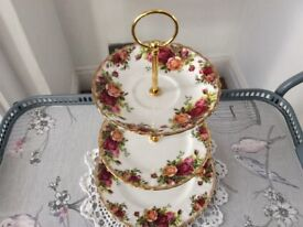 Royal Albert Bone China 3 Tier Cake Stand. Old Country Roses.
