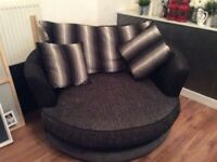 Black/Grey corner sofa 3 & 2 seater and armchair in good condition