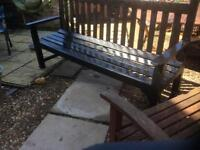 Heavy large wooden garden bench