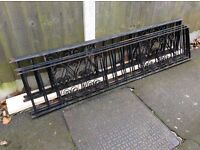 NINE PIECES OF DECORATIVE BLACK METAL WALL / FENCE RAILING