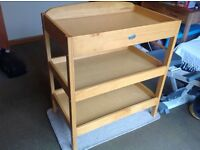 Baby Weavers Changing Table - Towel rail, 2 storage shelves, top shelf has higher back for safety.