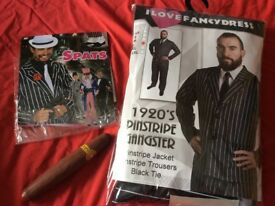 1920's pinstripe gangster fancy dress with extras