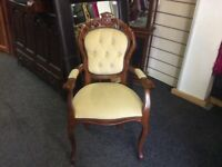 Cream Vintage French style chair with arms