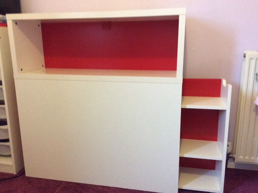 Ikea flaxa single bed headboard with shelf and storage for Furniture queensferry