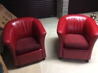 2 tub chairs, couch, ceiling fan
