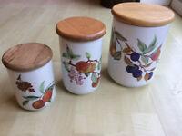 Set of 3 Royal Worcester Evesham Storage Jars and Lids