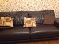 Leather sofa, arm chair, foot stool