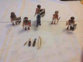 5 Egyptian Playmobil Men - With Horse