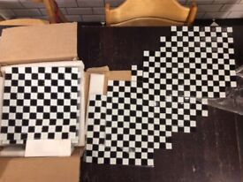 Brand new - 21 stunning black & white mosaic glass tiles 300mm sq each with mesh back