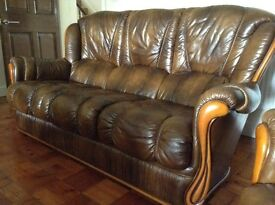 Leather Sofa and single chair.