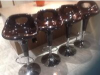4x brown gloss and chrome bar stools hardly used