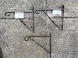 "x3 12"" Hanging Brackets for Hanging Baskets - x2 new Plus x1 used"