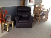 Two seater leather sofa and chair