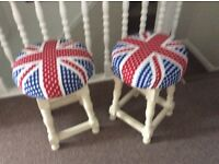 Wooden stools x 2 cloth padded seat as new