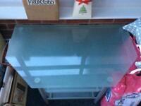 Glass 3-shelf corner TV table