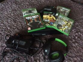 Xbox one and controller, headphones and games