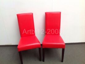 BNIB 2 Arina Dining Chairs Red Leather with Walnut Legs