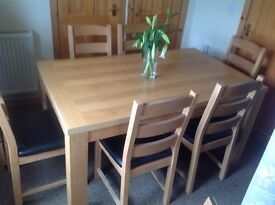 Family dining table with six chairs