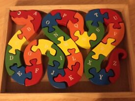Wooden Snake Alphabet Jigsaw Puzzle