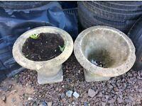 Ornate stone flower tubs