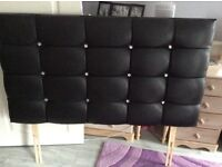 Like New Black Faux Leather Double Headboard with Crystal Buttons