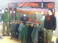 Angling, Fishing, Carp clothing and apparel business for sale, includes all stock, web site / e shop