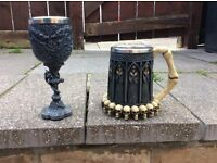 Gothic Tankard and Wine Goblet