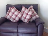 Pair of Balmoral Red Eyelet Curtains and 4 matching cushions